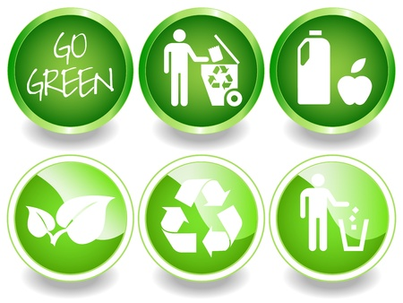 wholesome: Green stickers or labels, recycling symbol, leaves, recycle, trash, wholosome food.  Illustration