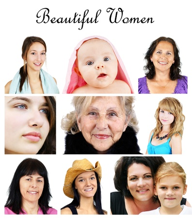 Collage of women portrait from infant to senior, all on white photo