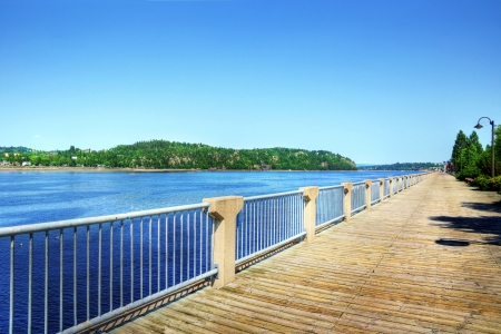 treated board: Boardwalk along the beautiful Saguenay river fjord in Quebec, Canada