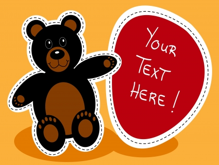 Cute black teddy bear with red sign over orange background Vector