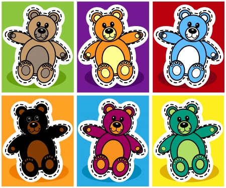 Seamless pattern of cute cartoon teddy bear over patchwork background Vector