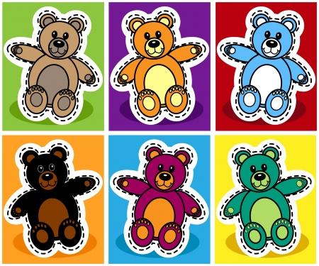 huggable: Seamless pattern of cute cartoon teddy bear over patchwork background