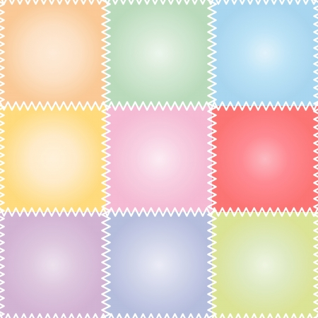 Seamless colorful patchwork or quilt pattern with stitches in pastel colors