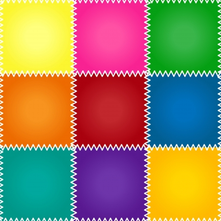 Seamless colorful patchework or quilt pattern with stitches Illustration