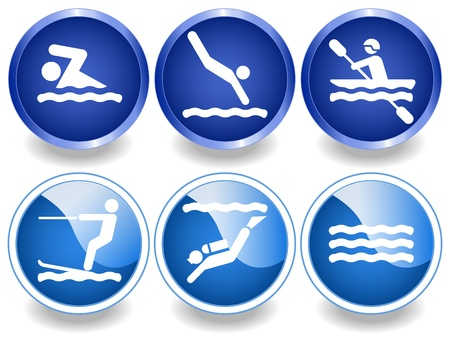 Blue water icons, stickers or labels, swimming, diving, skying, canoeing. Иллюстрация