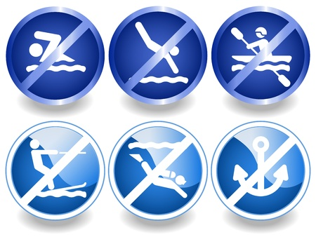 skying: Blue water icons, stickers or labels, No swimming, diving, skying, canoeing.