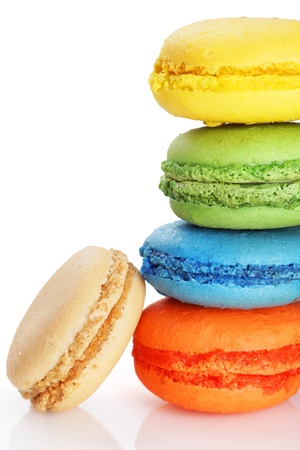 Stack of colorful and delicious macaroons photo