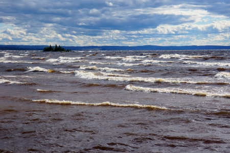 Storm on a large lake Stock Photo