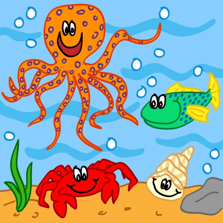 outline drawing of fish: Fun handdrawn marine life cartoon characters: octopus, crab, fish and shell. Illustration