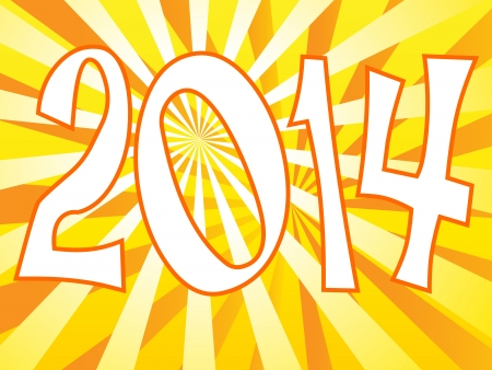 turns of the year: Fun 2014 sign with yellow and orange sunbursts Illustration