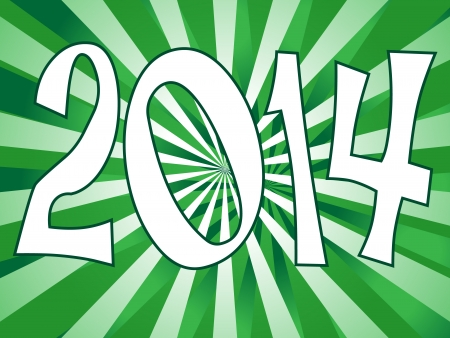turns of the year: Fun 2014 sign with perppermint green sunbursts
