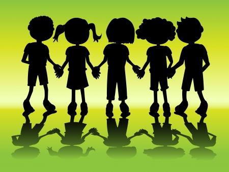 manos: Fila de las siluetas negras niños tomados de la mano con la sombra
