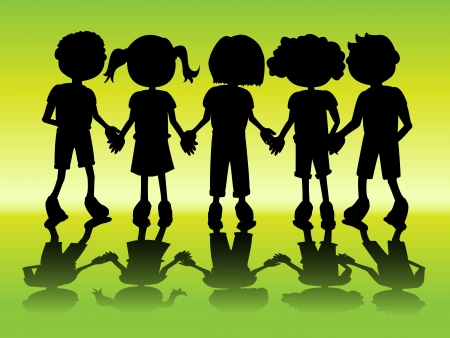 hand illustration: Row of kids black silhouettes holding hands with shadow Illustration