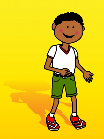 black: Happy little black boy cartoon with shadow over yellow background