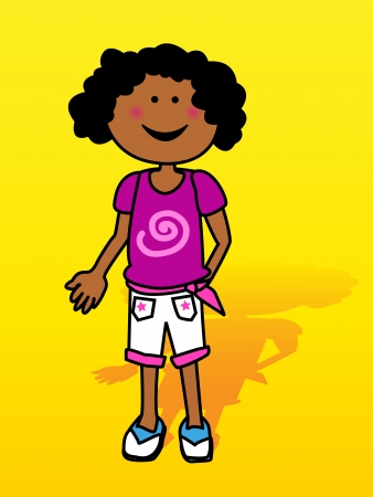 adolescent african american: Happy little black girl cartoon with shadow over yellow background