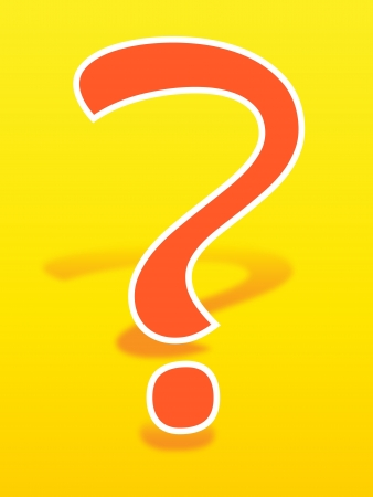 inquiry: Fun orange question mark on yellow background with shadow Illustration