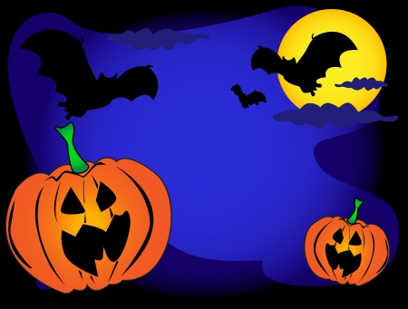 moon: Halloween background with bats, pumpkins and full moon Illustration
