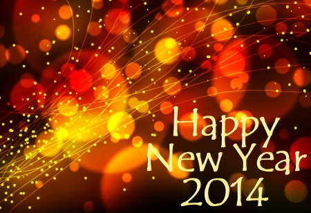 laser lights: Happy new year 2014 card or background with light effects in yellow, orange and red. Stock Photo