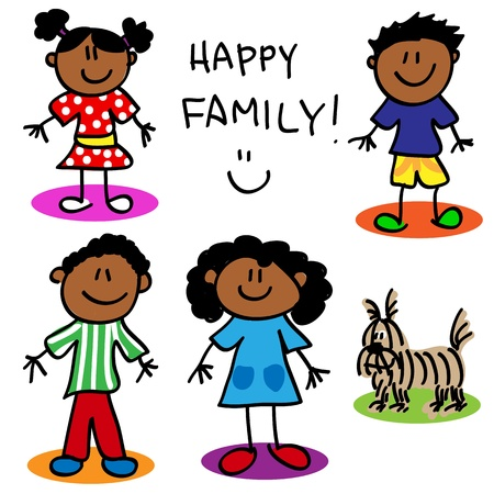 black family smiling: Fun stick figure cartoon black, family, father, mother, little girl, little boy and dog.