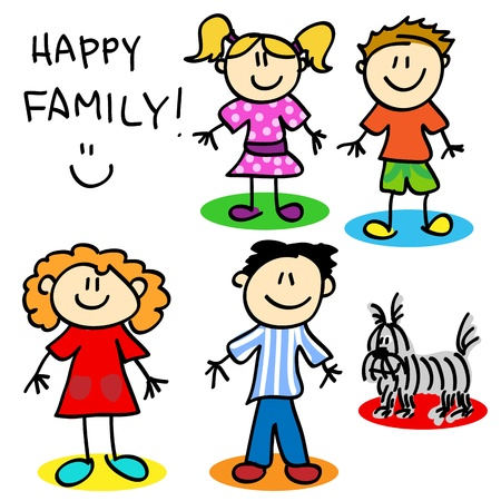 Fun stick figure cartoon family, father, mother, little girl, little boy and dog.
