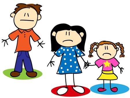 maltrato infantil: Diversi�n stick figure familia infeliz historieta, el divorcio o el concepto de abuso Vectores