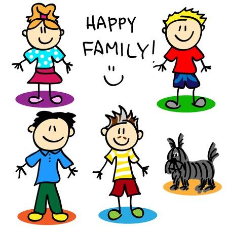 bonhomme allumette: Fun chiffre famille de b�ton de bande dessin�e gai avec deux p�res, petite fille, petit gar�on et le chien.