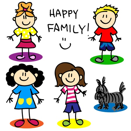 Fun stick figure cartoon lesbian or gai family with, two mothers, little girl, little boy and dog. Vector