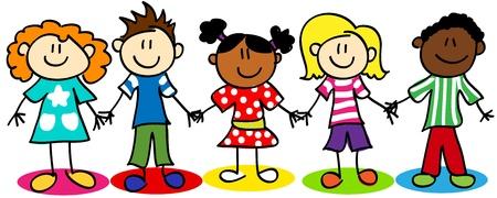 bambini disegno: Capretti figura del bastone divertimento fumetto, bambini e bambine, la diversit� etnica. Vettoriali