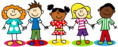 happy girls: Fun stick figure cartoon kids, little boys and girls, ethnic diversity.