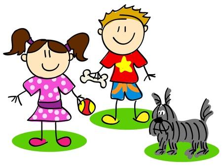Fun stick figure cartoon kids, little boy and girl playing with dog