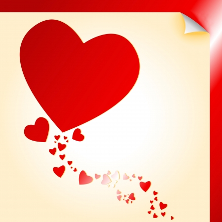 gold heart: Peeling paper heart shape decal with over red and gold metallic
