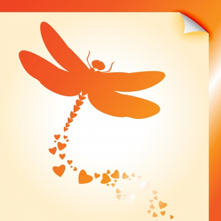 Peeling paper dragonfly decal with heart shapes over orange metallic Vector