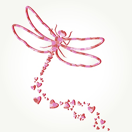 Paper dragonfly decal with heart shapes Vector