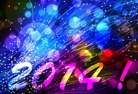 Happy new year 2014 card or background with light effects in blue, pink and yellow photo