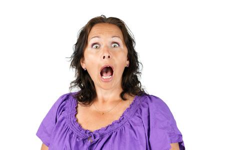 femme bouche ouverte: Gobsmacked, femme choqué ou surpris avec la bouche ouverte