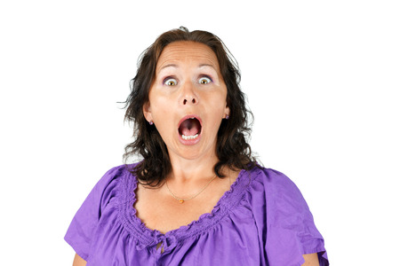 Gobsmacked, shocked or surprised woman with open mouth Imagens