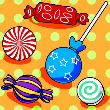 wrap wrapped: Fun seamless candy pattern with polka dots on orange Illustration