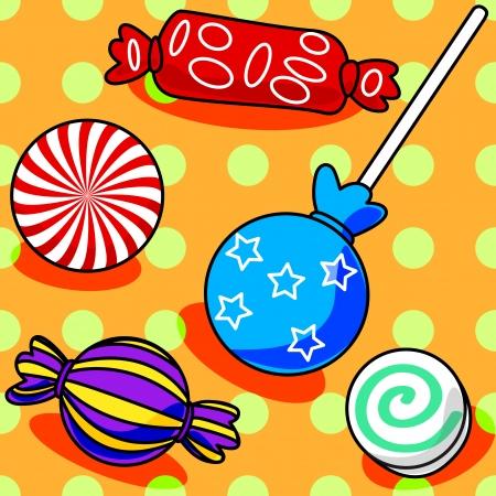 gelatin: Fun seamless candy pattern with polka dots on orange Illustration
