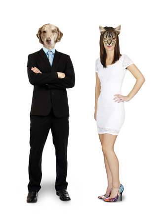 Funny composite of a cat woman with a dog man, complete body on white
