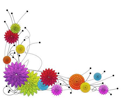 Diversión frontera floral caprichosa, crisantemos flores y líneas Foto de archivo - 22966888