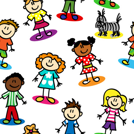 Seamless pattern made of stick figure kids on white