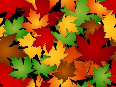 season: Seamless maple leaves pattern in fall or autumn season colors.