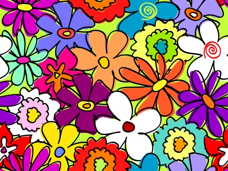 bright colors: Fun, retro seamless hand drawn flower pattern