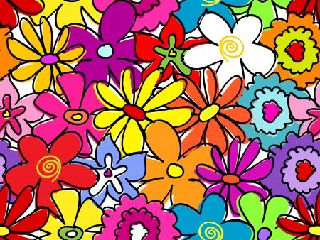 Fun, retro seamless hand drawn flower pattern