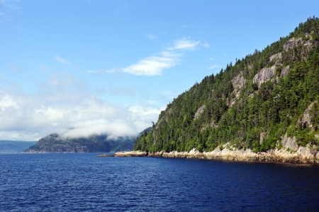 Beautiful waters and mountains of the Saguenay fjord, Quebec, Canada