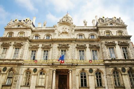 architrave: Hotel de ville or town or city hall of Lyon, France