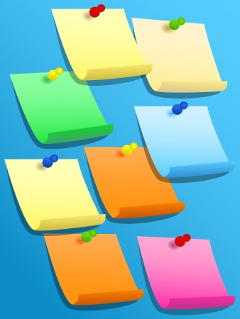 stickies: Colorful paper squares, yellow, blue, orange, pink, green, or stickies pinned on blue bulletin board