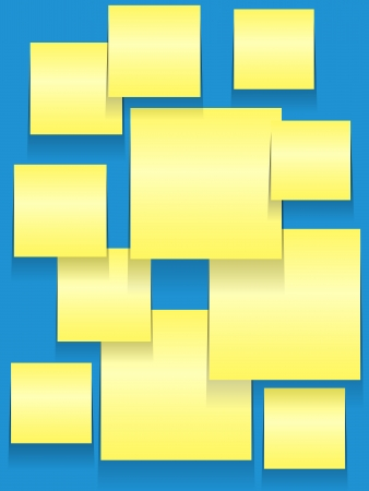 stickies: Yellow paper squares or stickies on blue bulletin board