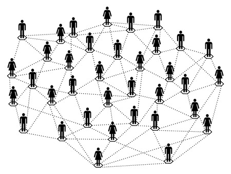 Network concept, connected  or linked men and women black silhouettes