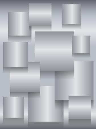 profundidad: Fun fondo met�lico de acero inoxidable con tableros cuadrados y sombras de profundidad Vectores